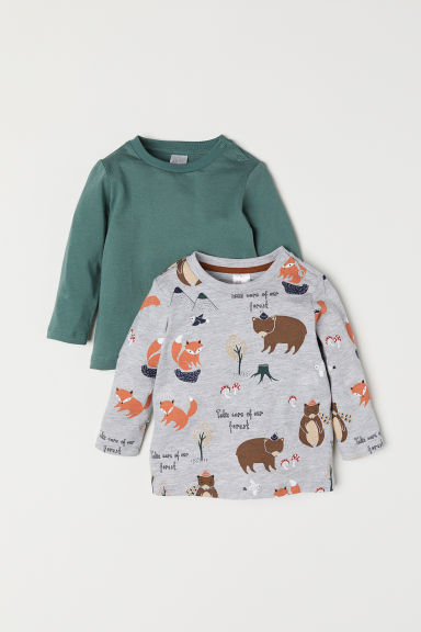 2-pack jersey tops - Grey marl/Animals - Kids | H&M CN