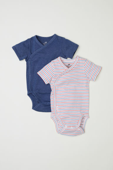 2-pack wrapover bodysuits - Blue marl/Striped - Kids | H&M