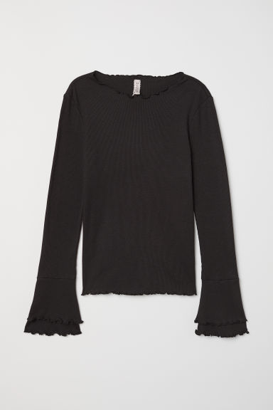 Ribbed jersey top - Black -  | H&M CN