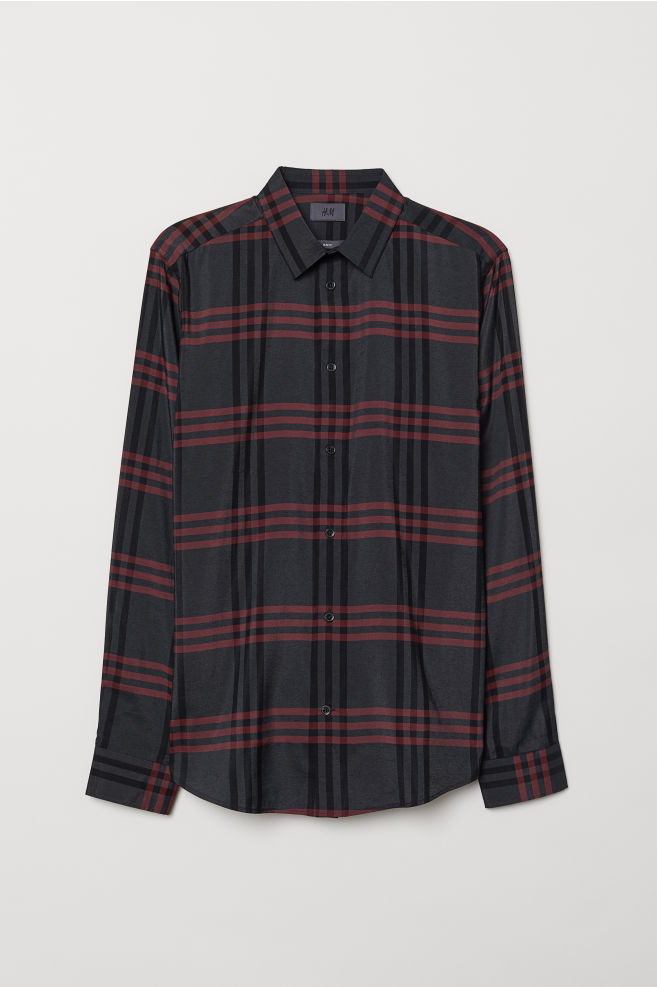 fb8206c491bb Slim Fit Shirt - Black/red checked - Men | H&M ...
