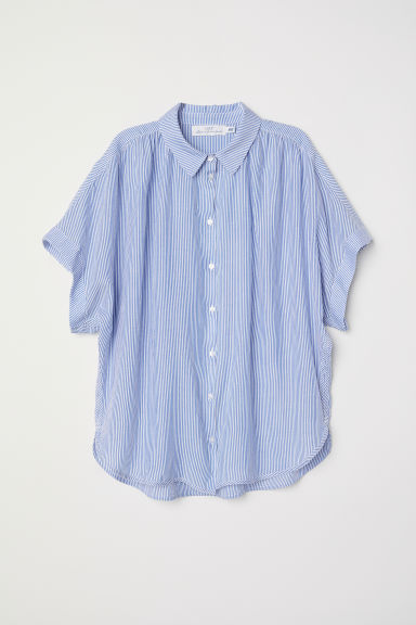 Wide blouse - Blue/White/Striped - Ladies | H&M GB