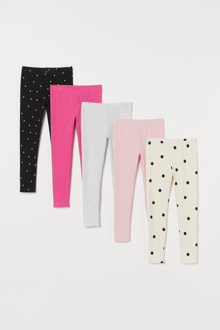 5-pack jersey leggings - Grey marl/Spotted - Kids | H&M