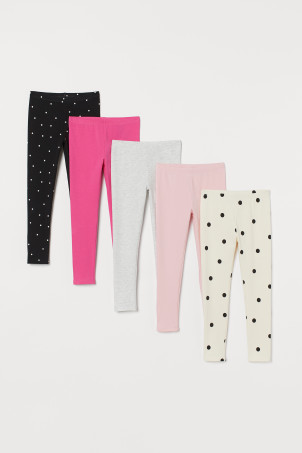Leggings en jersey, lot de 5