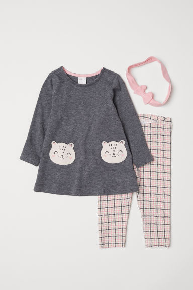 3-piece jersey set - Dark grey marl - Kids | H&M
