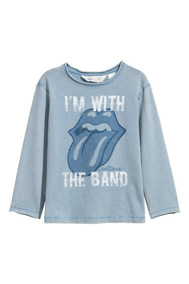 Washed-look jersey top - Blue/Rolling stones - Kids | H&M CN