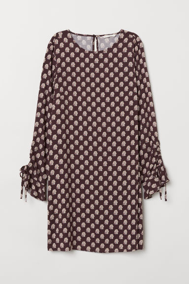 Flounce-sleeved dress - Dark purple/Patterned - Ladies | H&M