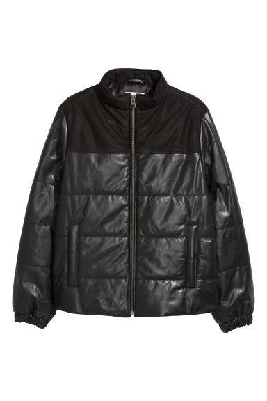 Padded leather jacket - Black -  | H&M