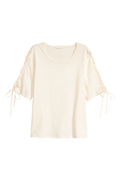 Cotton top with lacing - Natural white -  | H&M IE