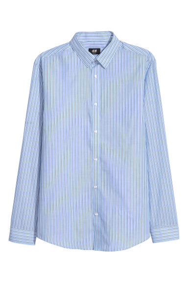 Easy-iron shirt Slim fit - Light blue/Dark blue striped - Men | H&M CN