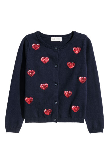 Sequined cotton cardigan - Dark blue/Hearts - Kids | H&M CN