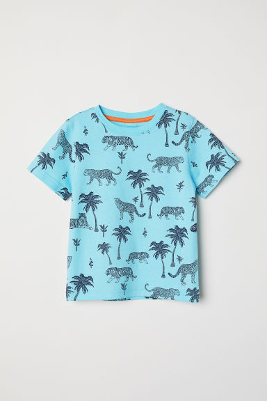 Printed T-shirt - Turquoise/Tigers - Kids | H&M