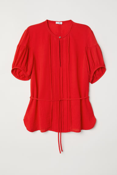 Puff-sleeved blouse - Bright red - Ladies | H&M