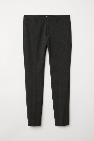 Suit trousers Super skinny fit - Anthracite grey/Checked - Men | H&M
