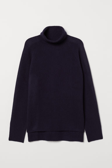 Wool-blend polo-neck jumper - Dark blue - Ladies | H&M CN