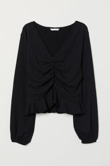 Top met V-hals - Zwart - DAMES | H&M BE