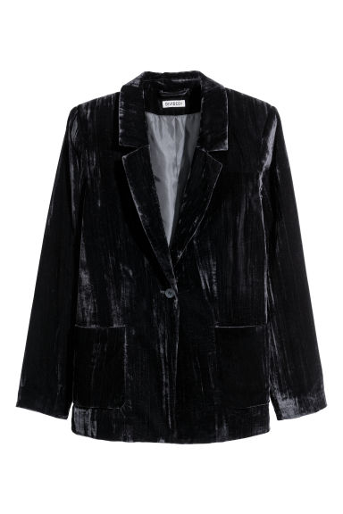 Velvet jacket - Black -  | H&M