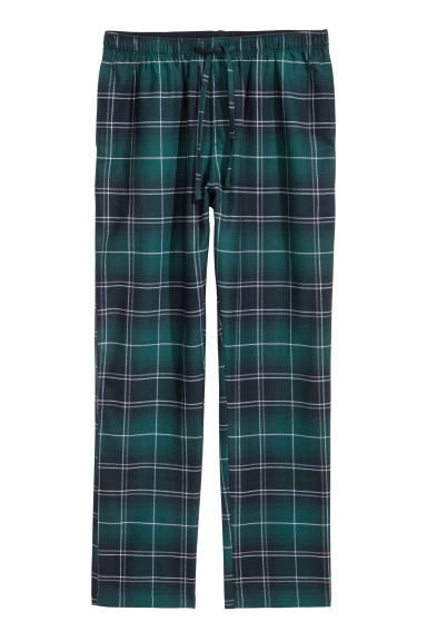 Flannel pyjama bottoms - Dark green/Blue checked - Men | H&M