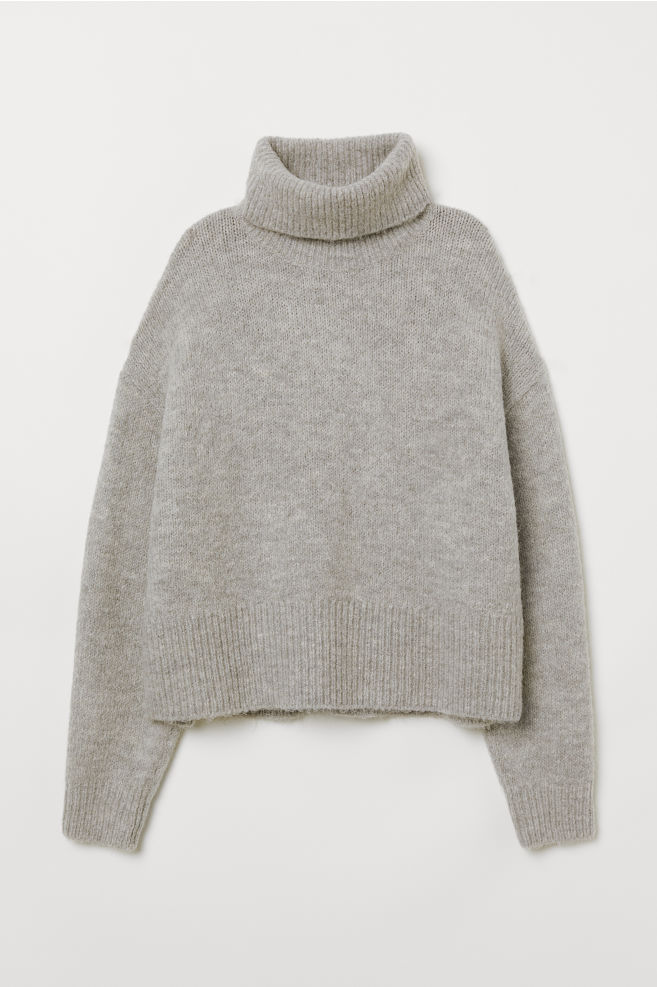 7467d56a8de Knitted polo-neck jumper - Light grey marl - Ladies
