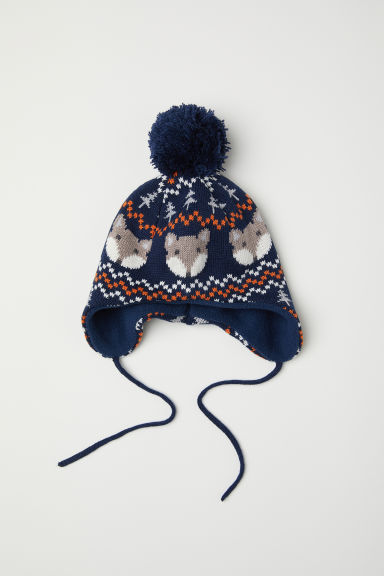 Jacquard-knit hat - Dark blue - Kids | H&M