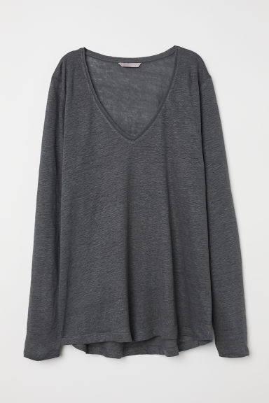 H&M+ V-neck linen top - Dark grey - Ladies | H&M