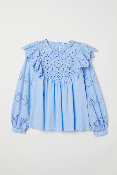Blouse with broderie anglaise - Light blue - Ladies | H&M GB