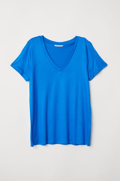 V-neck jersey top - Bright blue - Ladies | H&M CN