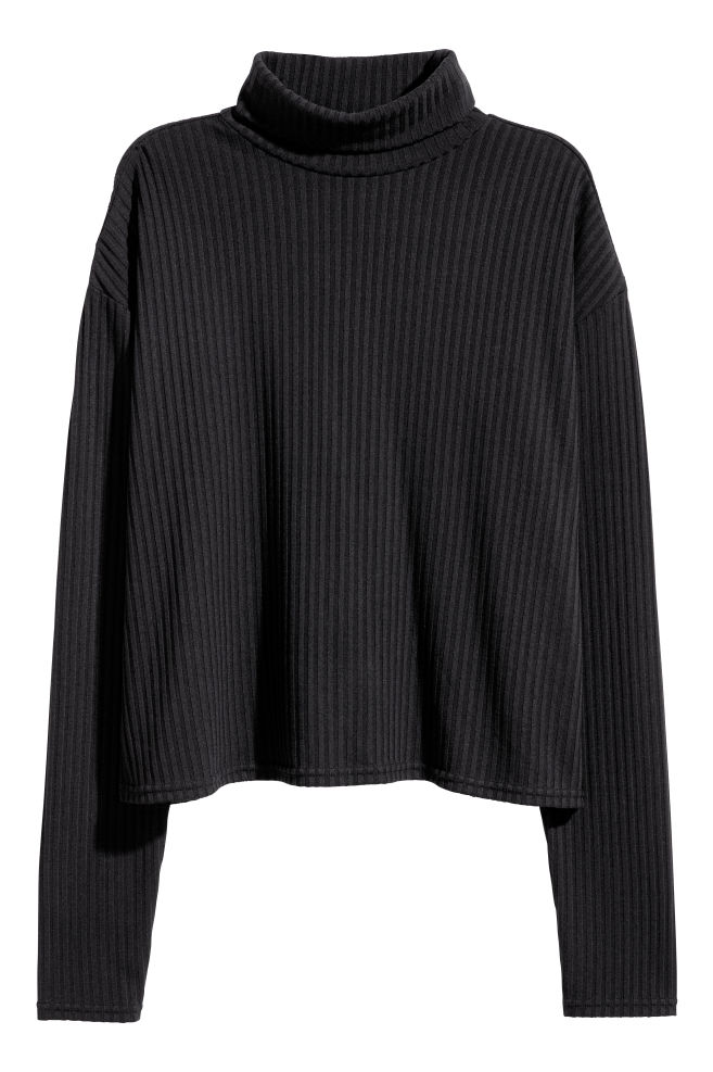 05a5a9081597 Ribbed polo-neck jumper - Black - | H&M ...