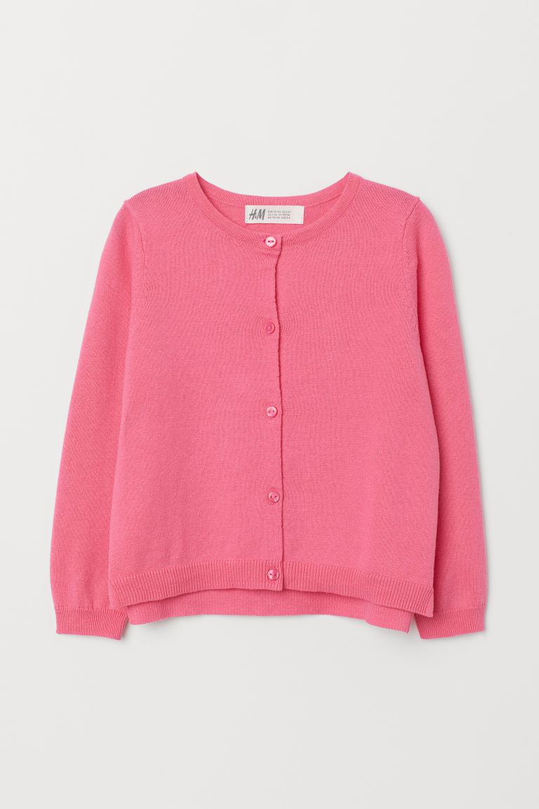Knitted cotton cardigan - Pink - Kids | H&M CN