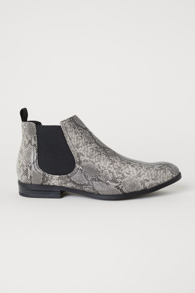 Chelsea boots - Dark grey/Snakeskin-patterned - Men | H&M CN