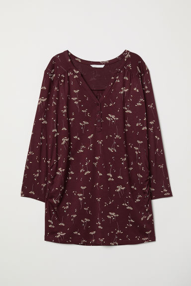 MAMA Patterned top - Burgundy/Floral - Ladies | H&M