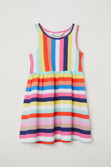 Sleeveless jersey dress - Multicoloured stripes - Kids | H&M CN