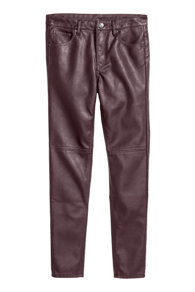 Imitation leather trousers - Plum -  | H&M CN
