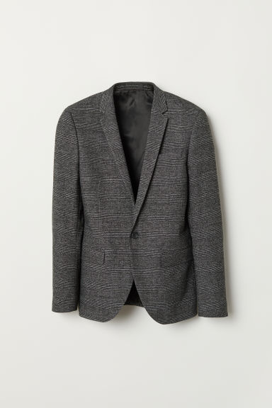 Blazer a quadri Skinny fit - Grigio scuro/quadri - UOMO | H&M IT