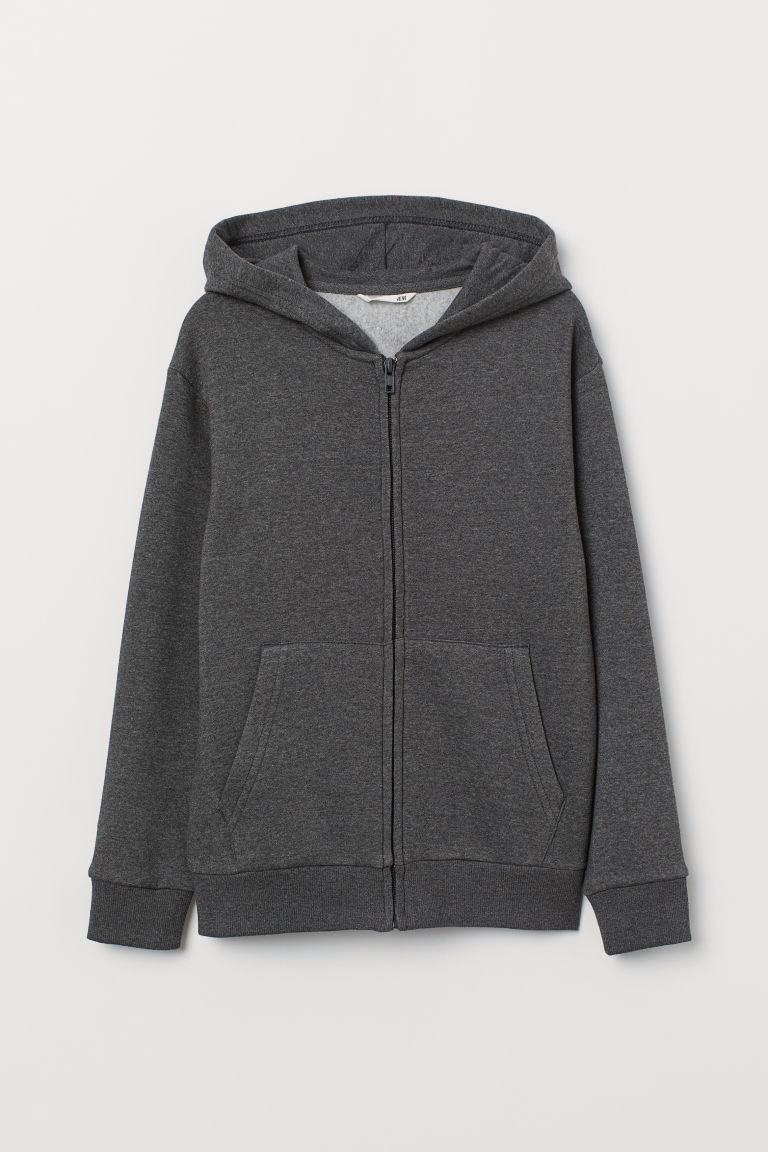 Hooded Jacket - Dark grey marl - Kids | H&M CN
