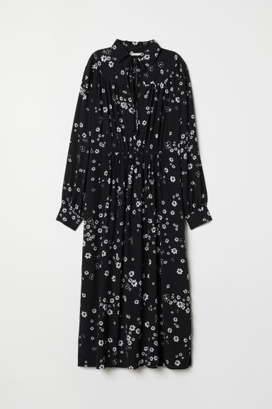 Dress with a collar - Black/White floral - Ladies | H&M
