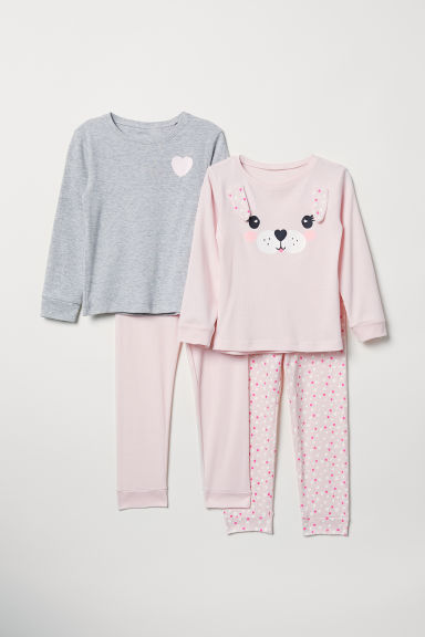 2-pack jersey pyjamas - Light pink/Dog - Kids | H&M IN