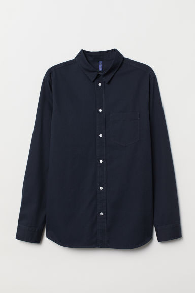 Twill shirt Regular Fit - Dark blue - Men | H&M CN