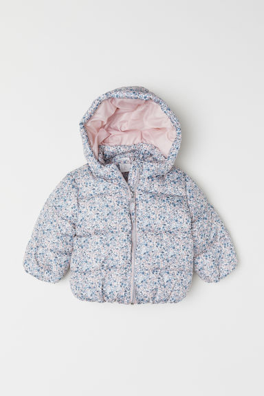 Padded hooded jacket - White/Floral - Kids | H&M CN