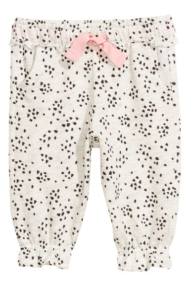 Frilled joggers - Light grey/Patterned -  | H&M CN