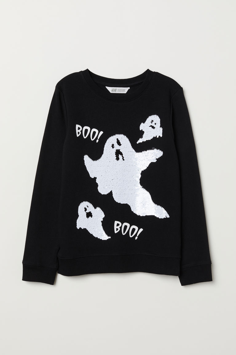Appliquéd sweatshirt - Black/Ghost -  | H&M CN