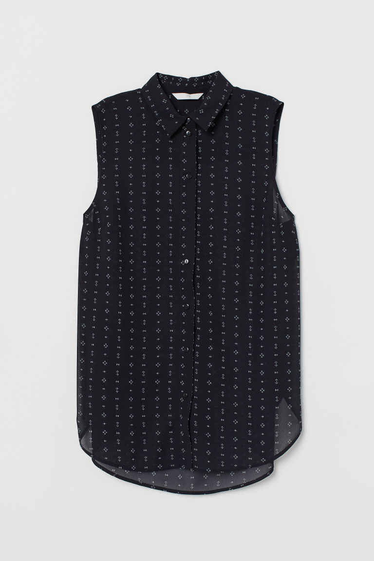 Sleeveless blouse - Dark blue/Patterned - Ladies | H&M IN