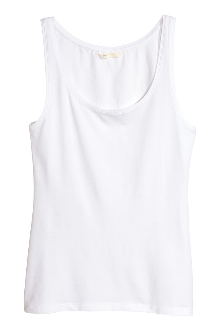 Jersey vest top - White - Ladies | H&M CN