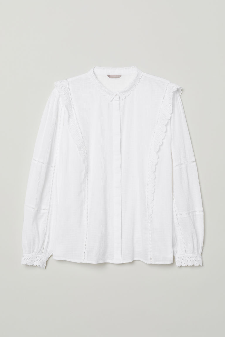 Blouse with lace - White - Ladies | H&M CN