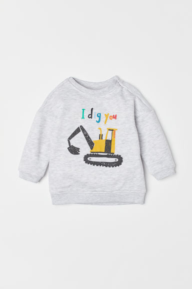 Printed sweatshirt - Light grey marl/Digger -  | H&M CN