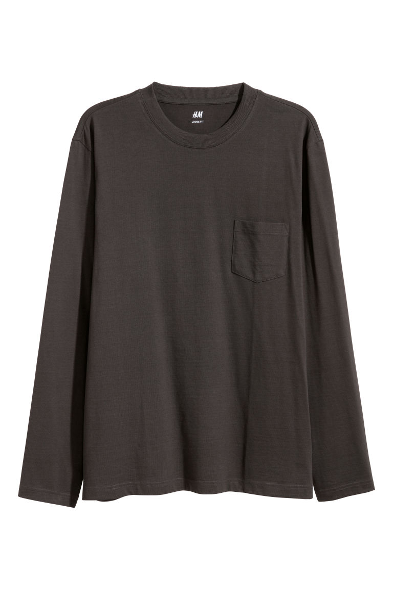 Long-sleeved top Loose fit - Black - Men | H&M