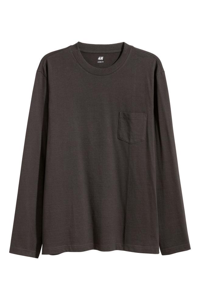 d914814c Long-sleeved Shirt Loose fit - Black - Men | H&M ...