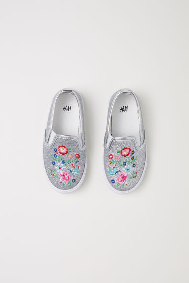 Slip-on trainers - Silver-coloured/Glittery - Kids | H&M