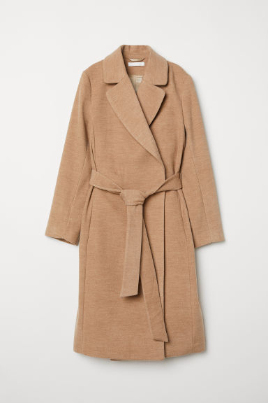 Coat with a tie belt - Beige marl - Ladies | H&M CN