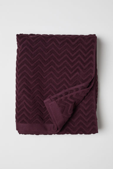 Jacquardgeweven badhanddoek - Bordeauxrood - HOME | H&M BE
