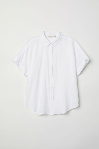 Short-sleeved cotton shirt - White - Ladies | H&M